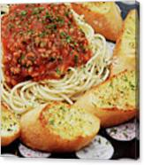 Spaghetti And Meat Sauce With Garlic Toast  Canvas Print