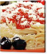 Spaghetti With Tomatoes And Olives Food Background Canvas Print