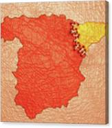 Spanish And Catalonia Tattoo With Stitches Canvas Print