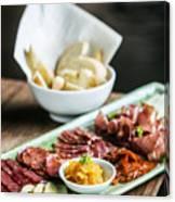 Spanish Smoked Meats Ham And Cheese Platter Starter Dish Canvas Print