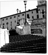 Spanish Steps Rome In Black And White Canvas Print