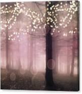 Sparkling Fantasy Fairytale Trees Nature Pink Woodlands - Sparkling Lights Bokeh Fantasy Trees Canvas Print