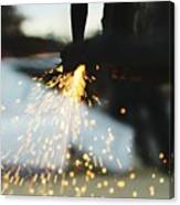 Sparks From Cutting Metal Canvas Print