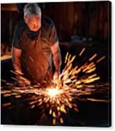 Sparks When Blacksmith Hit Hot Iron Canvas Print