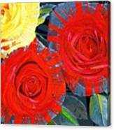 Spattered Colors On Roses Canvas Print
