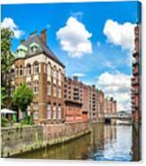 Speicherstadt Warehouse District In Hamburg Canvas Print