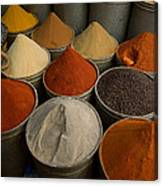 Spices For Sale In Souk, Fes, Morocco Canvas Print