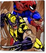 Spider And The Wolverine Canvas Print