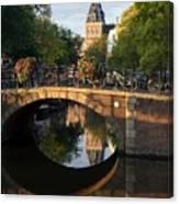 Spiegelgracht Canal In Amsterdam. Netherlands. Europe Canvas Print