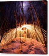 Spinning Steel Wool In Snow Canvas Print