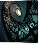 Spiral Ornamented Staircase In Blue And Green Tones Canvas Print
