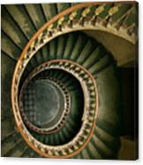 Spiral Staircase  In Green And Yellow Canvas Print