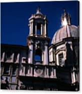 Spire And Cupola St Agnese In Agone Piazza Navona Rome Italy Canvas Print