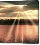 Spiritual Sunset Above A Mountain Lake Canvas Print
