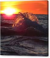Splash - Sunset On Lake Huron Canvas Print