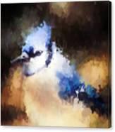 Splatter Art - Blue Jay Canvas Print