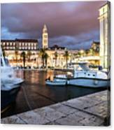 Split Harbor Night View In Croatia Canvas Print