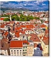 Split Old City Center Aerial View Canvas Print