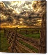 Split Rail Cedar Fence Sunset Canvas Print