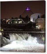Spokane Falls Night Scene Canvas Print