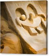 Sponge Bob Blue Water Sand Sculpture Canvas Print