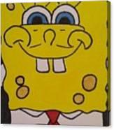 Sponge Square Yellow Brown Pants Cartoon Canvas Print