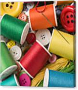 Spools Of Thread With Buttons Canvas Print