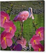 Spoonbill Through The Flowers Canvas Print