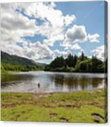 Spot The Swimming Dog In Derwnt Water Lake Canvas Print