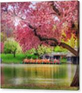 Spring Afternoon In The Boston Public Garden - Boston Swan Boats Canvas Print