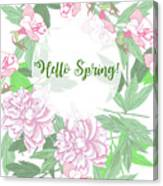 Spring  Background  With Pink Peonies And Flowers.  Canvas Print