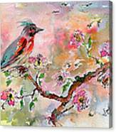 Spring Bird Fantasy Watercolor  Canvas Print