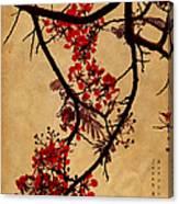 Spring Bloosom In Maldives. Flamboyant Tree I.  Japanese Style Canvas Print
