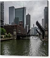 Spring Bridge Lift Scene In Chicago  Canvas Print