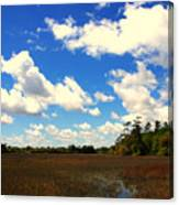 Spring Clouds Over The Marsh Canvas Print