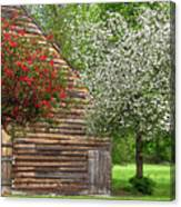 Spring Flowers And The Barn Canvas Print
