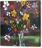 Spring Flowers In Vase Canvas Print