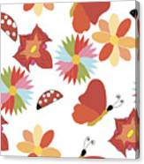 Spring Flowers Pattern Canvas Print