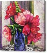 Spring In A Blue Bottle Canvas Print