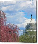Spring In Washington And Dressed In Scaffolding Canvas Print