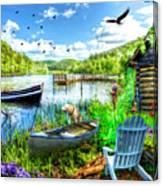 Spring Serenity At Lakeside Canvas Print