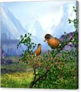Spring Time Robins Canvas Print