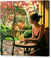 Spring, View From A Cafe Window In Paris Canvas Print
