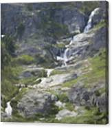 Spring Waterfall In The Tetons Canvas Print