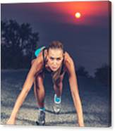 Sprinter Woman On The Start Canvas Print