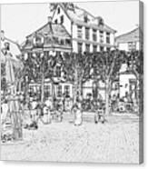 Square In Copenhagen At Nyhavn Canvas Print
