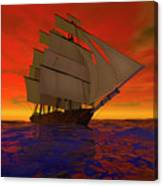 Square-rigged Ship At Sunset Canvas Print