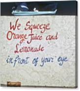 Squeezed Juice Sign Canvas Print