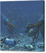 Squid-like Orthoceratites Attempt Canvas Print