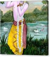 The Divine Flute Player, Sri Krishna Canvas Print